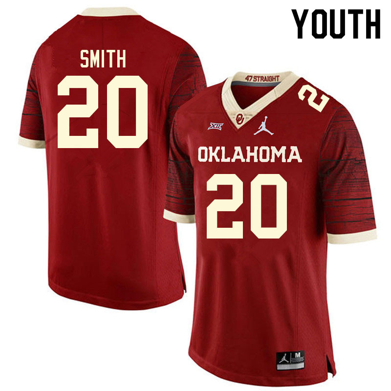 Youth #20 Clayton Smith Oklahoma Sooners College Football Jerseys Sale-Retro